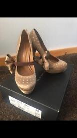 Kurt Geiger nude diamanté platform heels