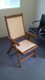 Brown and white deck chair