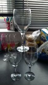 glasses mixed sizes sherry, shots, wine, flutes. bride and groom set of flutes