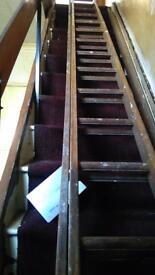 Builders Extending wooden ladders