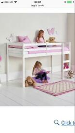 White wooden single mid sleeper bed