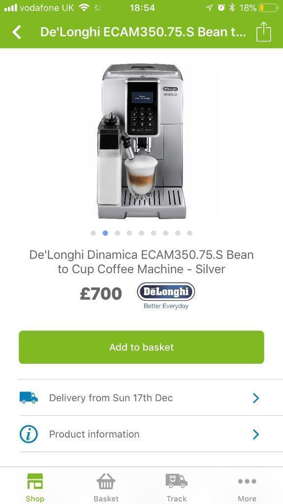 BRAND NEW DELONGHI DINAMICA COFFEE MACHINE