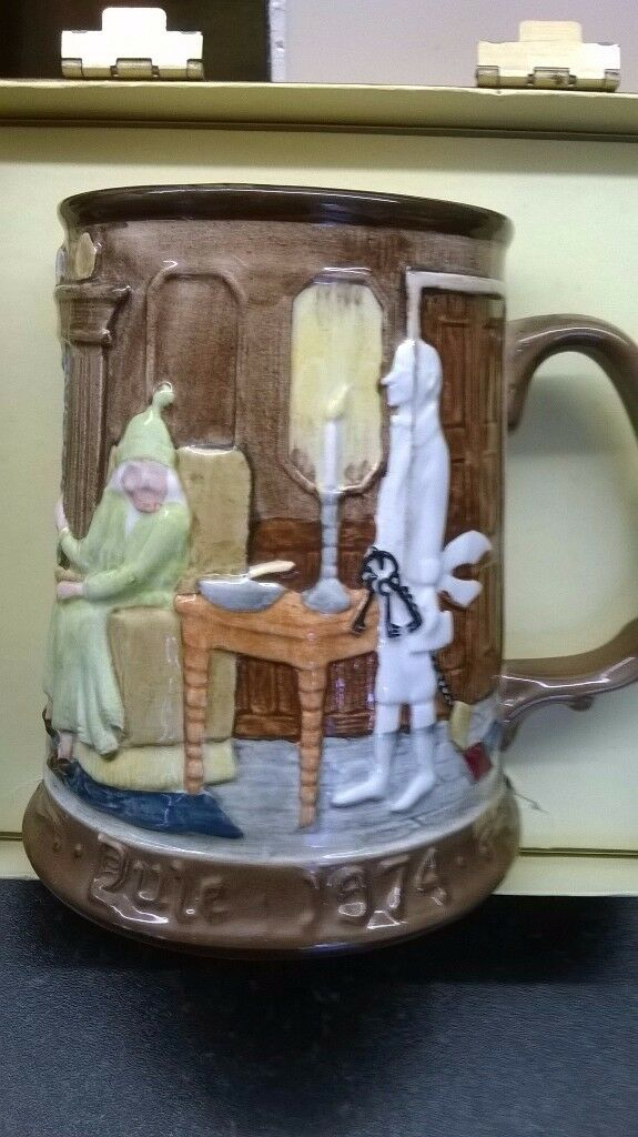 Beswick Pottery Christmas Carol Scrooge Tankard depicting Scrooge and Marley