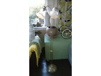 Brass Standard Lamp With Etched Glass Shades