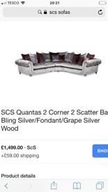 Scs crushed velvet sofa with cuddle chair and puffe £1000