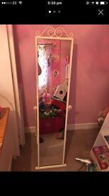 Full length white metal mirror