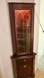Mahogany Effect Corner Display Cabinet / Case / Unit / Dresser with Light Glass Shelves Cupboard