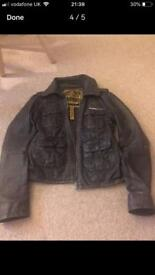 Superdry brown leather small jacket