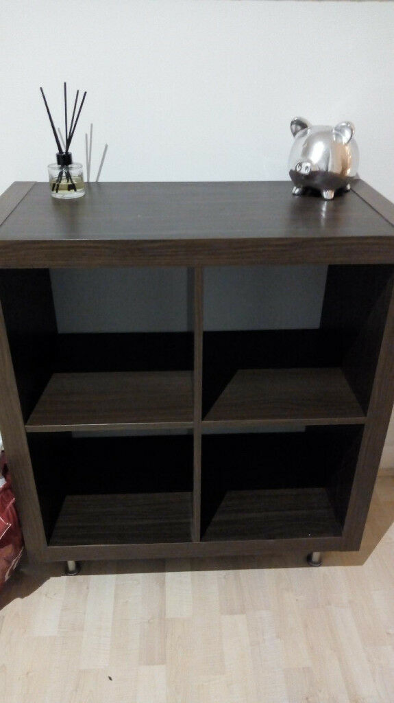 Dark Brown Wood Effect Storage Shelving Unit On Legs Ikea Kallax