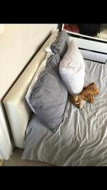Double bed, cream leather £50 ONO E8
