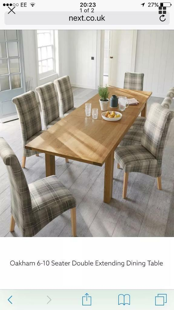 Next Oakham 6 10 Seater Double Extending Dining Table