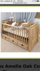 Amelia solid oak cot with 3 storage draws and memory foam mattress
