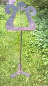 vintage metal music stand -originally made for Prince of Wales theatre, Cardiff