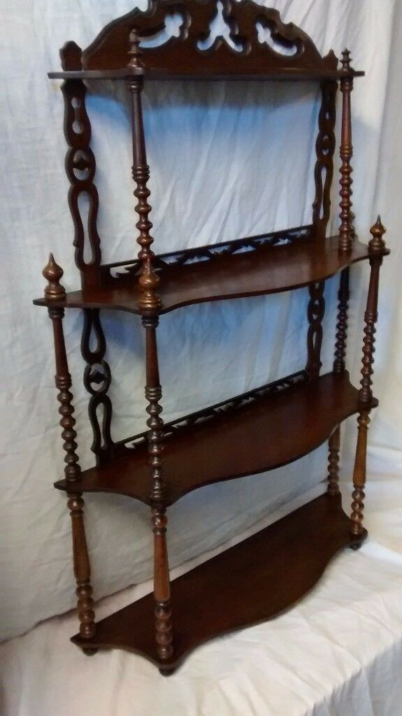 Antique Victorian four tier wall shelf