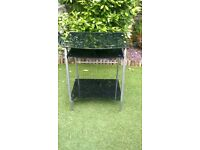 Compact black glass compter desk with aluminium frame. unused. excellent condition.