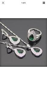 Green created emerald white topaz 925 sterling silver jewellery sets with box