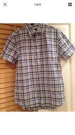 New - Guise Designer - Short Sleeved Mens Blue Chequered Shirt - Size Small
