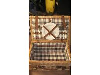 Traditional wicker picnic hamper.