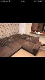 DFS fabric corner sofa with swivel chair