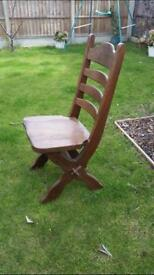 Farmhouse dining room table with six solid chairs verry hevy staff