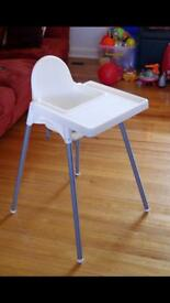 Ikea highchair stacking with built in food tray and pillow/cushion