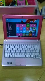 Pink/Silver Sony Vaio Laptop, Windows 10, MS Works, Dual Core, 160gb HD, Wifi