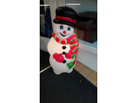 ILLUMINATED SNOWMAN GARDEN ORNAMENT