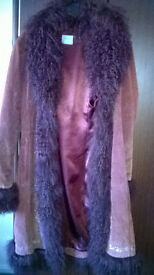 Lovely Oasis Suede Coat with fur trimmings - Size 12
