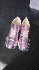 Shiney pink carvela trainers size 6