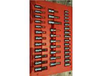 Snap On 37 piece socket bit set 1/4 and 3/8