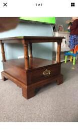 Dark wood vintage solid wood side/ coffee table