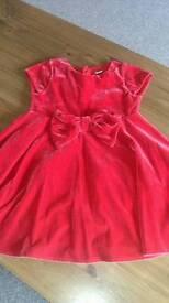 Girl's Red Velvet Dress