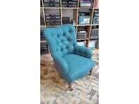 Victorian deep button iron back chair; newly re-upholstered