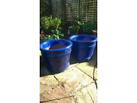 Two Heavy Blue Planters