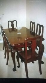 Antique Mahogany Dining Table and 6 Chairs, Mint Condition