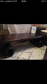 Beautiful solid wood scroll shaped coffee table