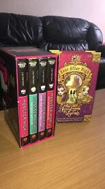 4 Monster High Books and 1 Ever After High Book