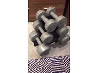 Dumbell set 2 x4.5kgs 2x2.3kgs and 2x1.1kgs