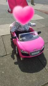 Pink Audi ride on car