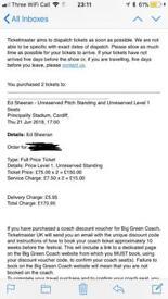 2 x standing ed Sheeran tickets Cardiff 21/06/18