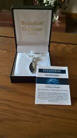 Silver Byzantium crystal and Paua shell necklace