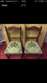2 X ANTIQUE REFURBISHED DINING CHAIRS