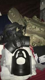 Gas mask size 3 worth a lot in store comes with multi cam field pack and face plate