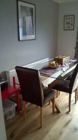 Glass top dining table only