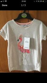 BNWT Marks and Spencer Flamingo girls top 3-4 years