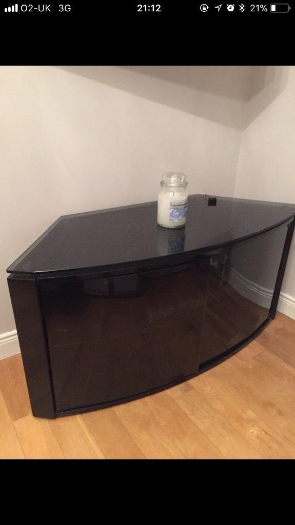 Curved Black Glass TV Cabinet
