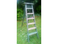 Vintage wooden painters folding step ladders HELSTON £15