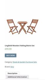Lingfield wooden folding bistro set