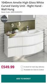 White gloss vanity unit excluding sink