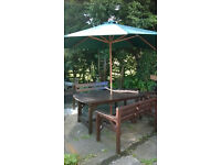 Garden dining set - Table with 2 Benches and Chair